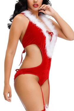 Sexy Santa Hottie Marabou Hooded Romper Christmas Lingerie