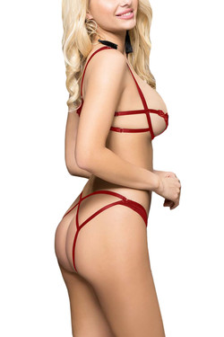 Candice Red Open Cup Bra Strappy Lingerie Set Plus Size