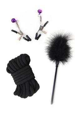 Black Faux Leather Fur Lined 13 piece Beginner's Bondage Kit