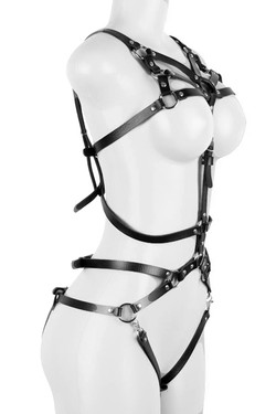 Faux Leather Caged Bodysuit Harness