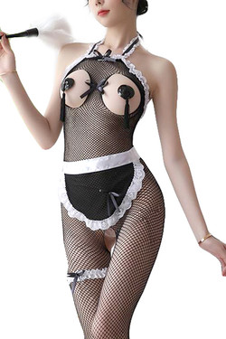 French Maid Open Cup Fishnet Body Stockings