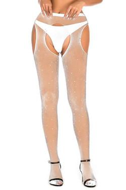 White Sparkle Fishnet Rhinestone Garter Pantyhose
