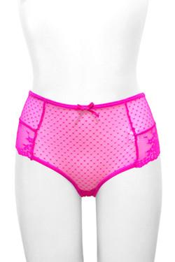 Dottie Pink Polkadot Sheer Lace-up Back High Waist Panty