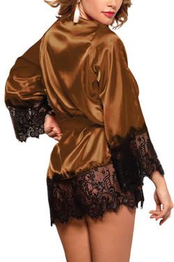 Veronica Brown Satin Black Lace Trimmed Robe Set