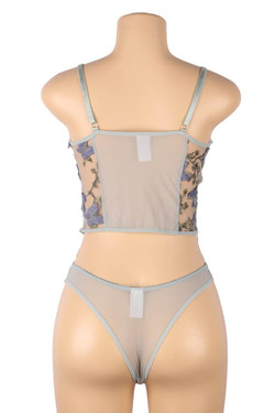 Eden Gray Butterfly Embroidered Sheer Cami Thong Lingerie Set