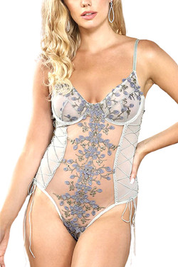 Eden Gray Butterfly Embroidered Sheer Teddy