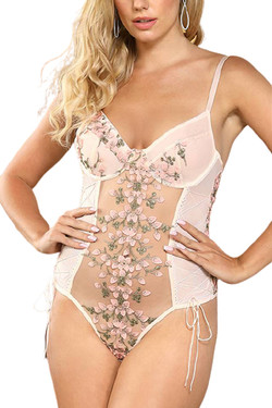 Eden Pink Butterfly Embroidered Sheer Teddy