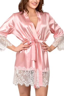 Macy Pink Satin White Lace Trimmed Robe Kimono