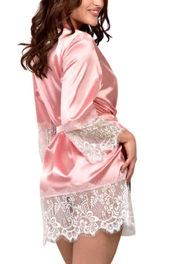 Plus Size Macy Pink Satin White Lace Trimmed Robe