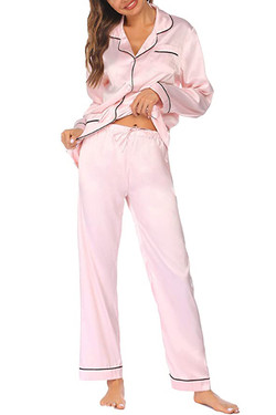 Pink Satin Pajama Pants Set