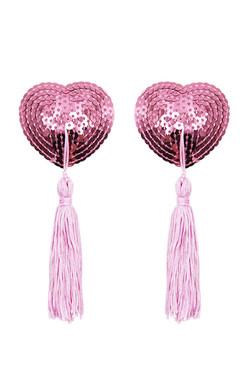 Pink Heart Sequin Nipple Tassel Pasties