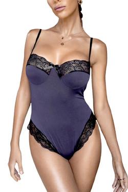Sienna Navy Blue Satin High Cut Teddy Bodysuit