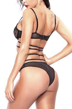 Ahlia Black Lace Cross Strappy Lingerie Set