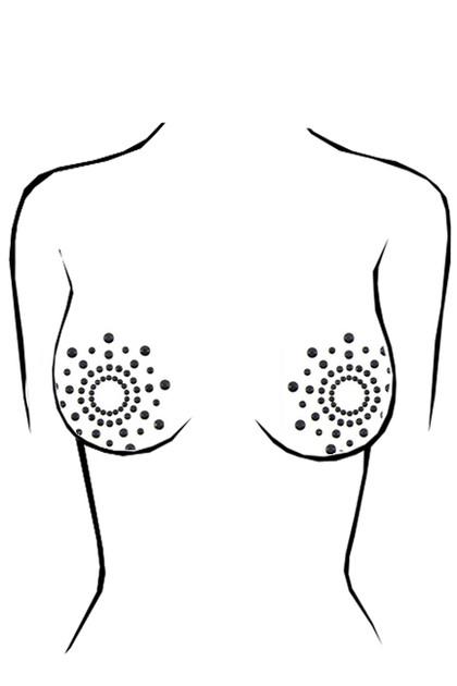 Black Sparkle Rhinestone Adhesive Gem Nipple Pasties 1 pair