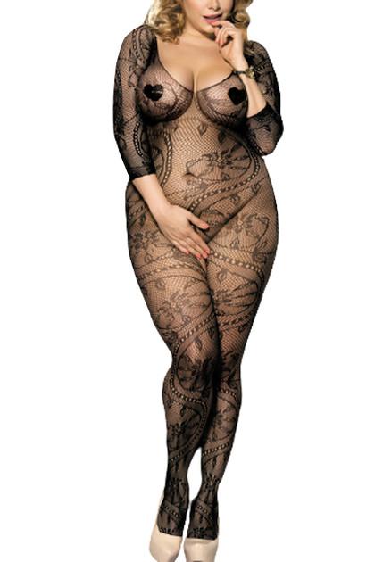 Black Paisley Off Shoulder Fishnet  Full Body Stockings Plus Size