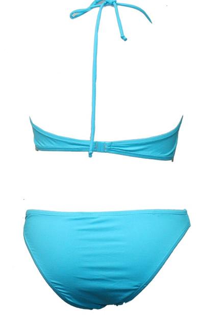 Sky Blue Plain Ribbon Bandeau Padded Bikini  - UK12 MEDIUM