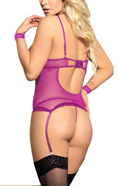 Purple Marla Lace up Lace Garter Camisole Thong Set
