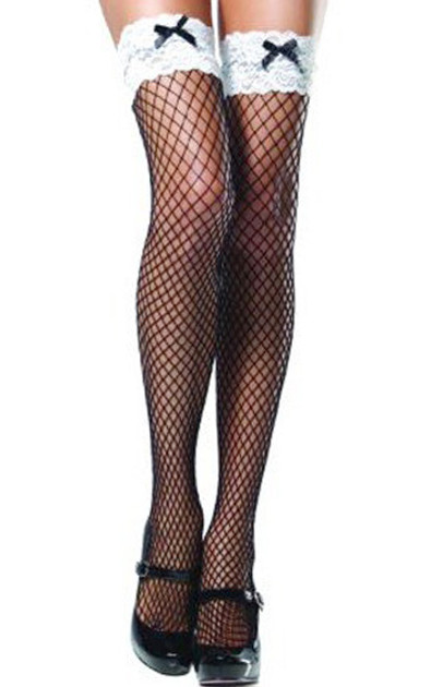 White Lace Top Black Fishnet French Maid Thigh High Stockings