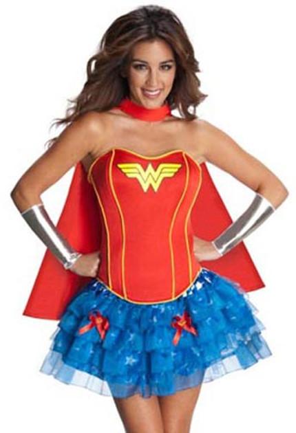 Retro 80s Wonder Woman Corset Petticoat Costume