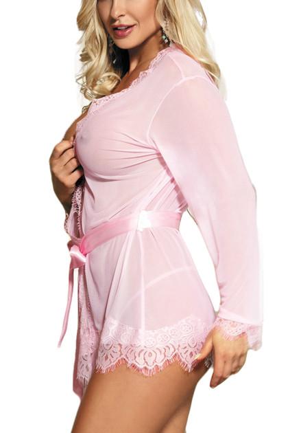 Carol Pale Pink Sheer Lace Kimono Lingerie