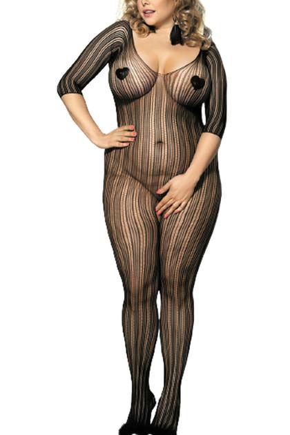 Lia Black Vertical Off Shoulder Body Stockings Plus