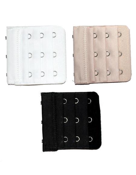 3 Hook Bra Extenders Set - Black Beige White