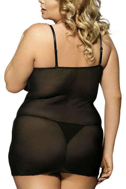 Lyla Black Faux Leather and Lace Chemise Plus Size