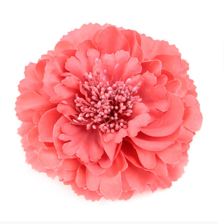 Salmon Pink Peony Realistic Pin-up Flower Hair Clip