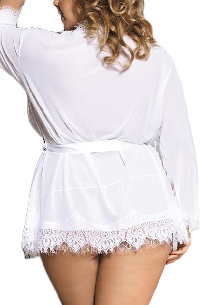 Carol White Sheer Eyelash Lace Kimono Lingerie   PLUS
