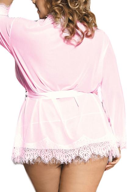 Carol Pale Pink Sheer Lace Kimono Lingerie PLUS SIZE