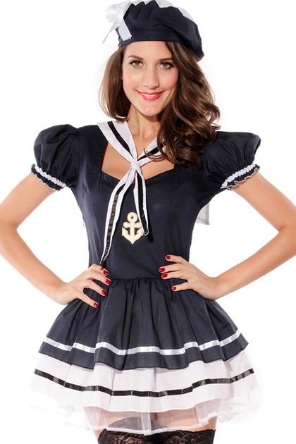 Ahoy Sailor Sexy Tutu Puff Sleeves Costume
