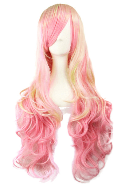 Pink Blonde Highlight Side Bangs  Wavy Long Wig 25inches