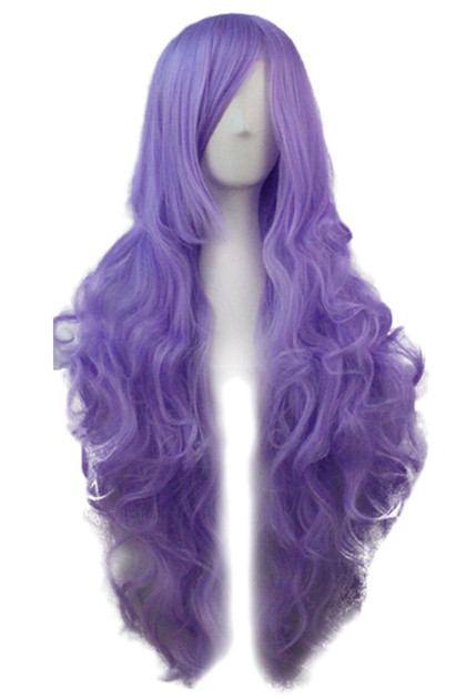 Lilac Long Wavy Curly Wig with Long Side bangs