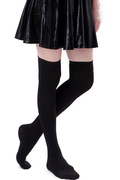 Plain Black Poly Knit Over the Knee Socks