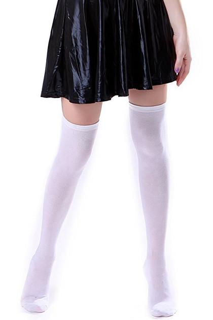 Plain White Poly Knit Over the Knee Socks