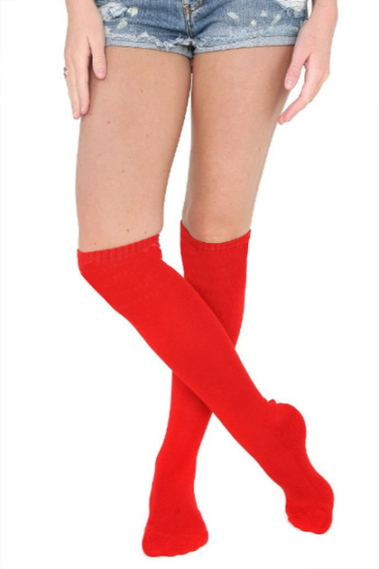 Plain Red Poly Knit Over the Knee Socks