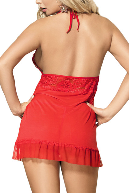 Brook Red Lace Halter Fly Away Babydoll Lingerie