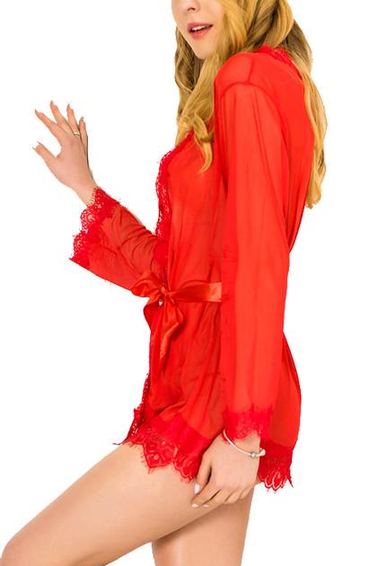 Carol Red Sheer Lace Kimono Lingerie