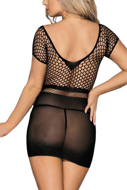 Black Knit  Bodystocking Mini Dress