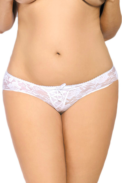 White May Lace up Floral Lace Crotchless Panty - Plus Size