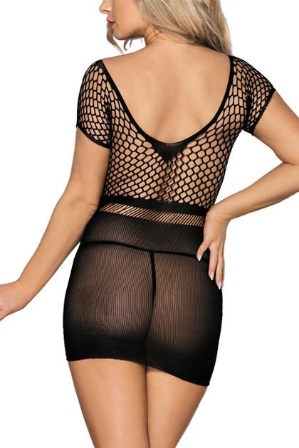 Black Knit  Bodystocking Mini Dress Plus Size