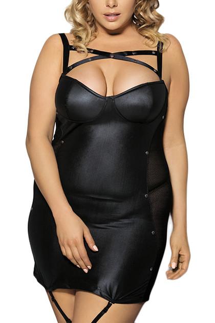 Kiara Black Criss Cross Faux Leather garter Dress Plus