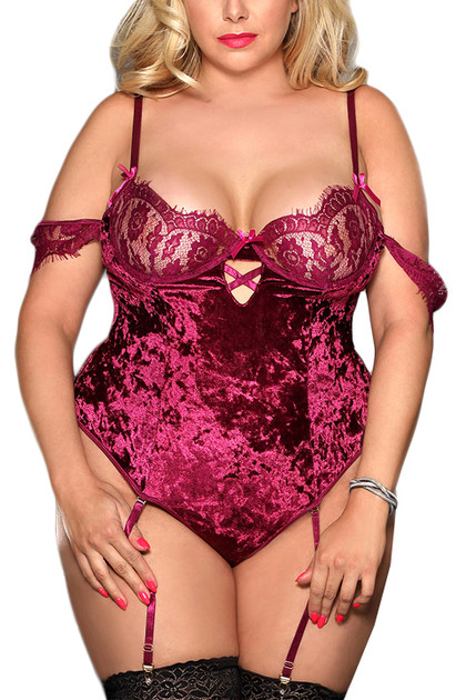 Celeste Wine Off Shoulder Velvet Lace Garter Teddy Plus