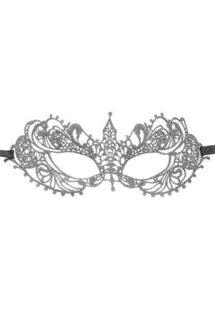 Silver Natalie Gothic Lace Masquerade Venetian Eye Mask