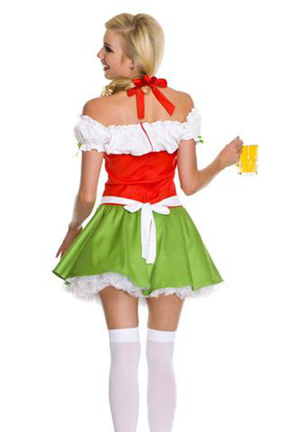 Adeline Orange Green Beer Maid Costume - slightly damaged