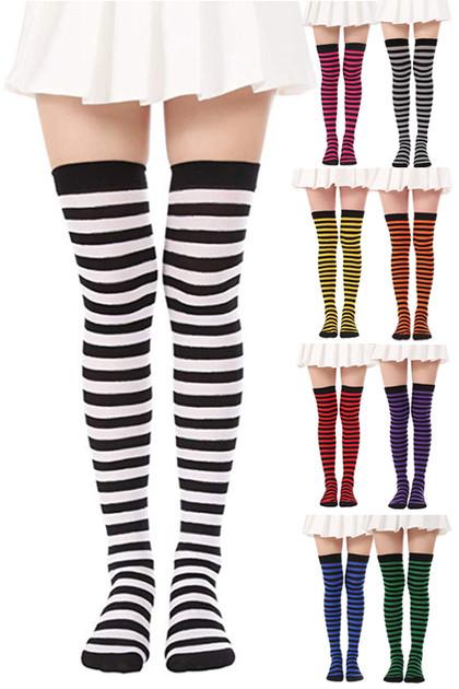 Black Color Contrast Stripes Over the Knee Costume Socks