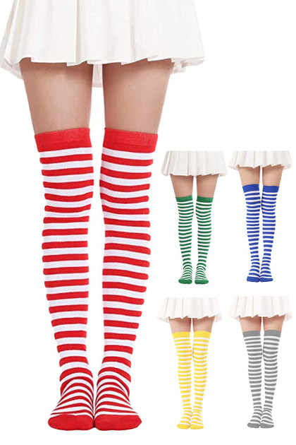 White Color Contrast Stripes Over the Knee Costume Socks