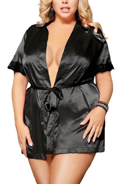Laurie Black Satin Back Lace Robe Set Plus Size