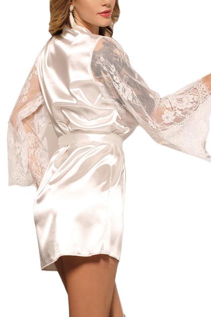 Emy White Satin Lace Sleeves Robe Set