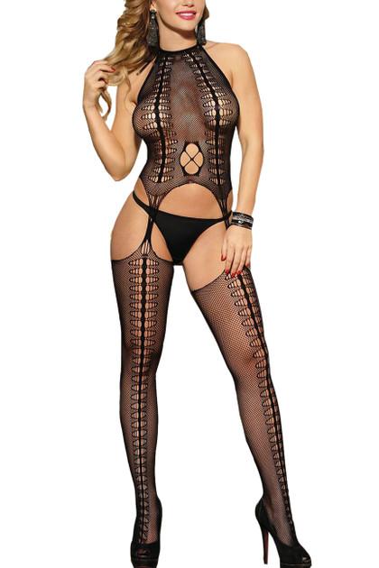 Gwen Halter Fishnet Patterned Garter Body Stockings
